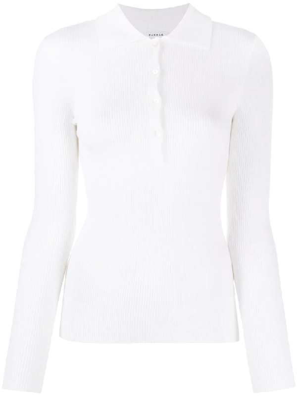 P.a.r.o.s.h. Leila Ribbed Polo Top In White