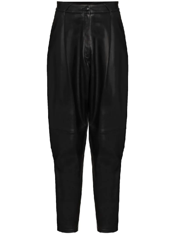 Alessandra Rich High-rise Tapered Leather Pants In Black