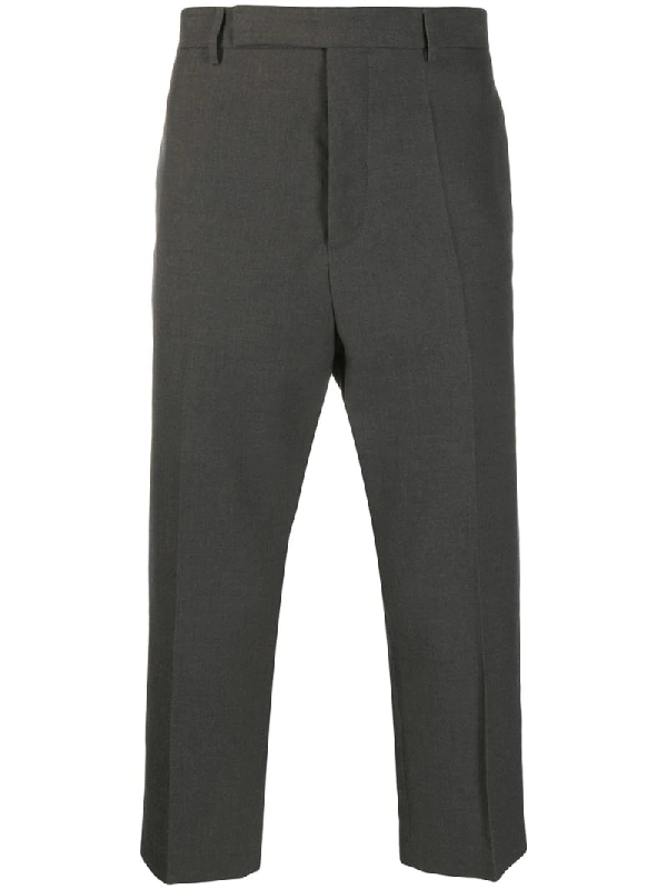 Rick Owens Slim-fit Cropped Chinos In Grey