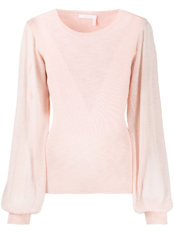 See By Chloé Long-sleeve Fitted Jumper In Pink
