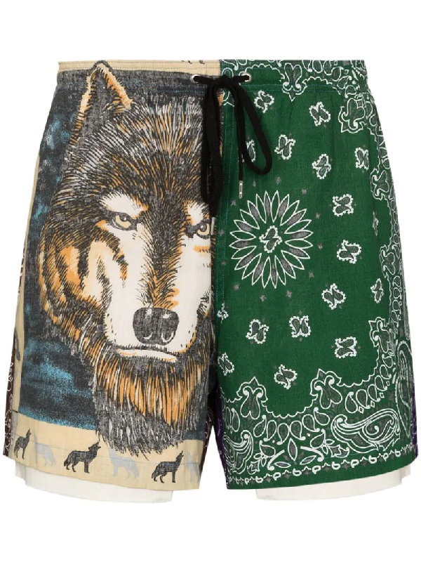 Children Of The Discordance Bandana-pattern Asymmetric Track Shorts In Brown