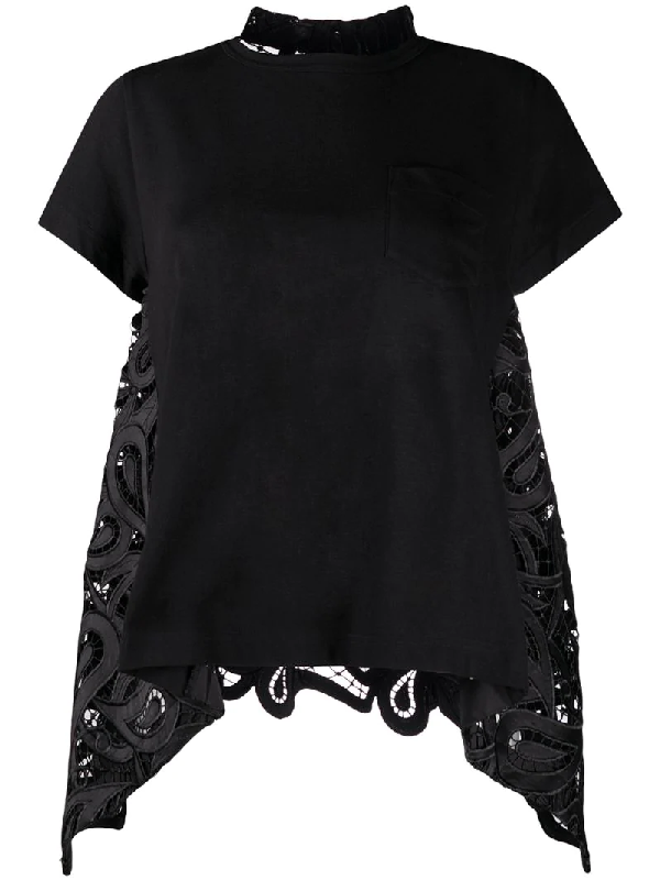 Sacai Draped Cut-out Back Blouse In Black