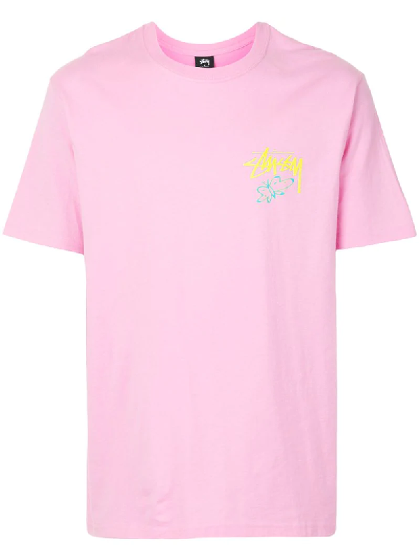 Stussy Super Bloom Crewneck T-shirt In Pink