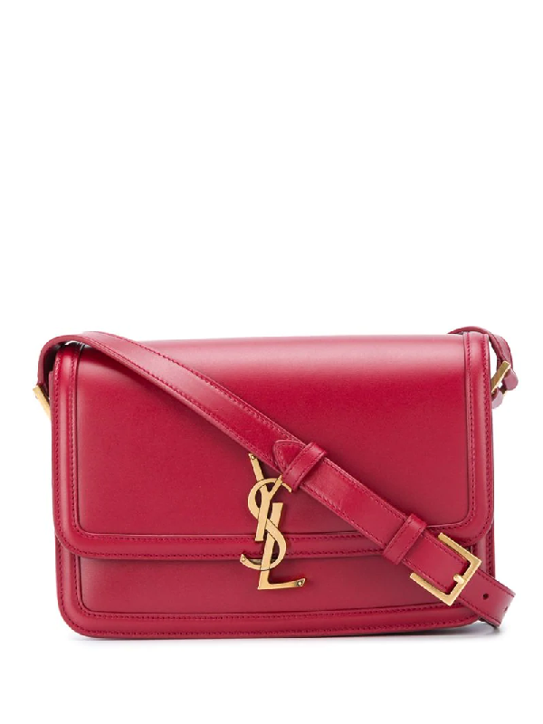 Saint Laurent Monogram Plaque Crossbody Bag In Red