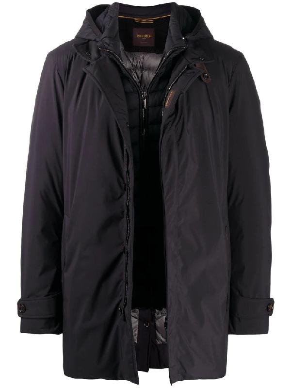 Moorer Padded-layer Zip Jacket In Black