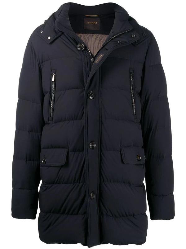 Moorer Multi-pocket Padded Coat In Blue
