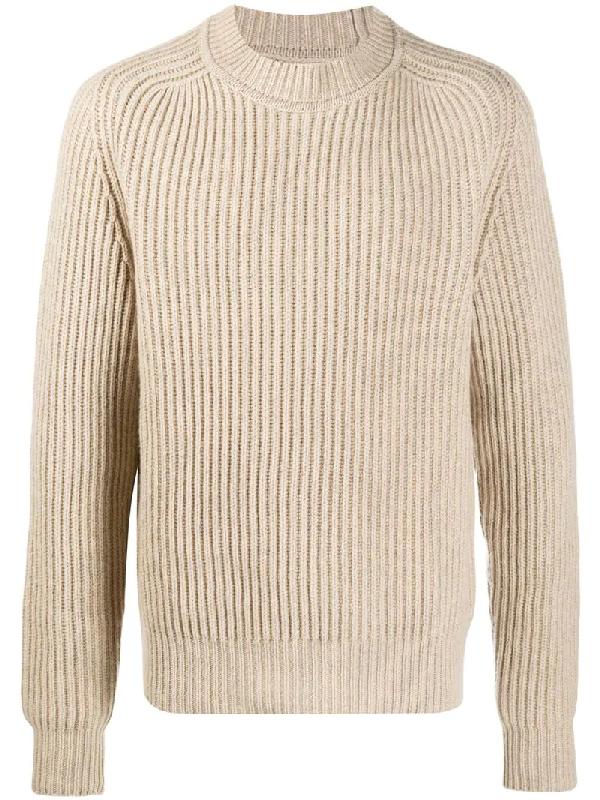 Jil Sander Crew Neck Ribbed Sweater In Neutrals