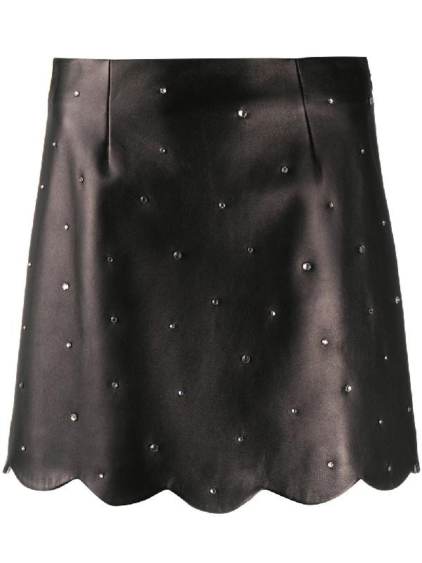 Miu Miu Emblished Leather Skirt In Schwarz