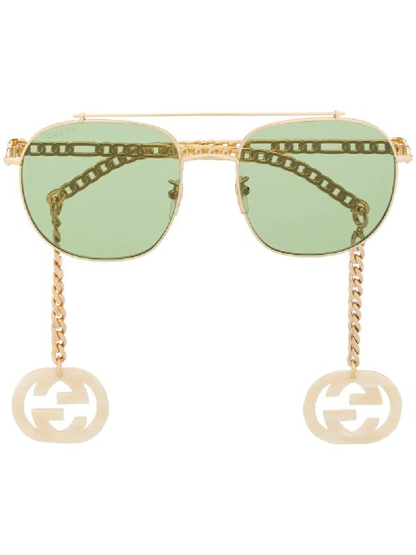 Gucci Chain-trimmed Sunglasses In Gold
