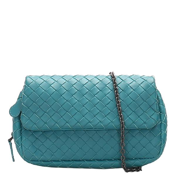 Bottega Veneta Blue Intrecciato Leather Chain Crossbody Bag