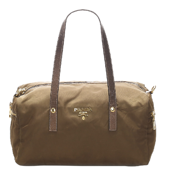 Prada Brown Tessuto Nylon Satchel Bag