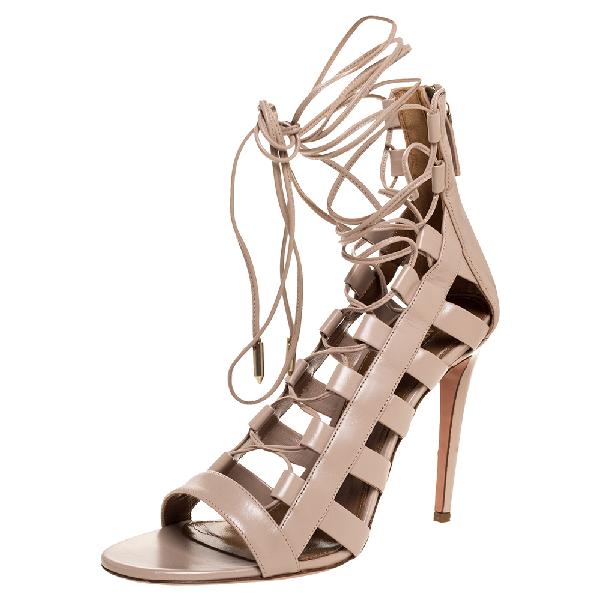 Aquazzura Beige Leather Amazon Lace Up Open Toe Sandals Size 40.5