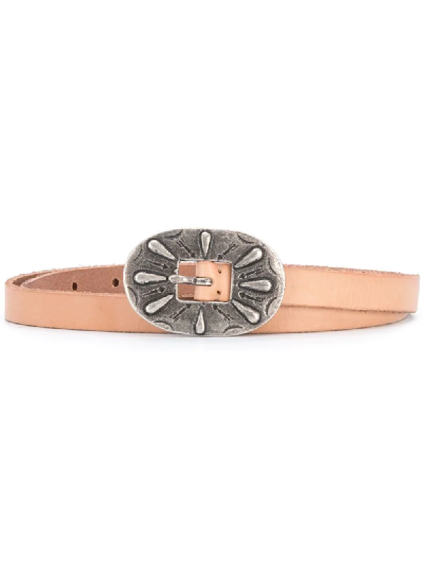 Polo Ralph Lauren Skinny Leather Buckle Belt In Neutrals