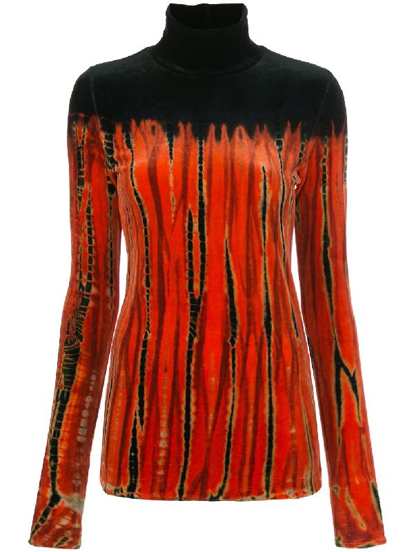 Proenza Schouler Tie-dye Velvet Turtleneck Top In Orange