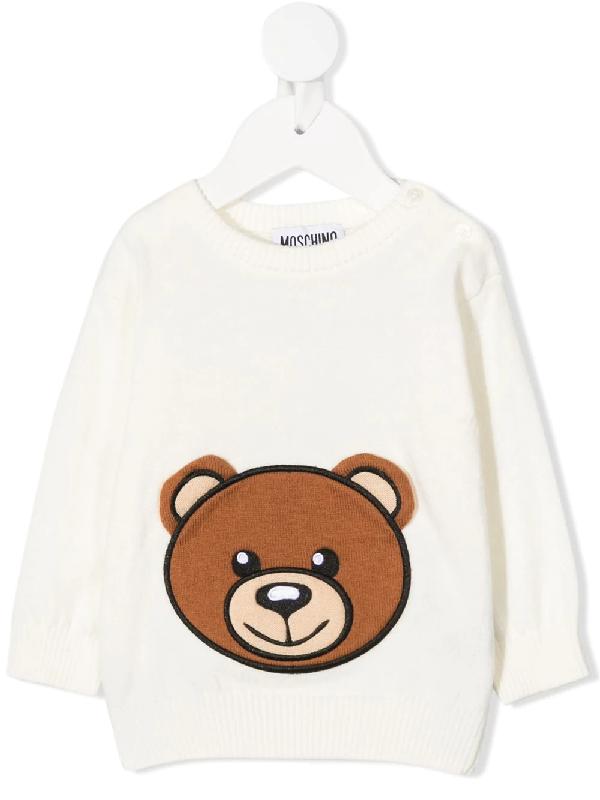 Moschino Babies' Bear Motif Jumper In White