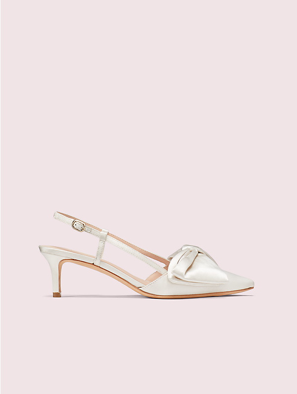 Kate Spade Marseille Bow Pointed Toe Slingback Pump In Ivory