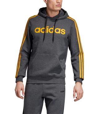 Adidas Originals Adidas Men's Essentials 3-stripes Fleece Logo Hoodie In Dark Grey Heather/active Gold