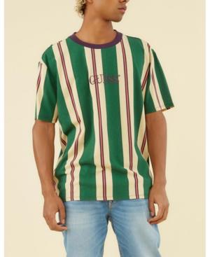 Guess Men's Originals Striped Tee In Green Ivory Stripe