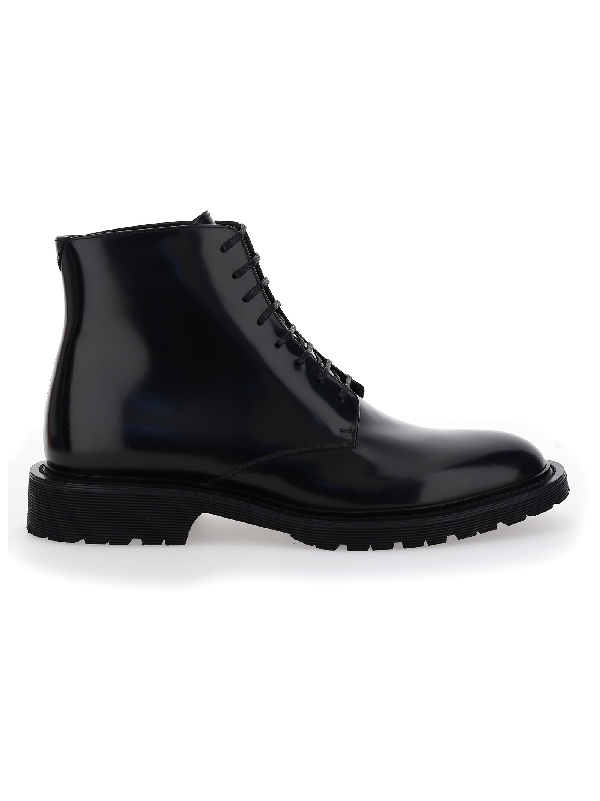 Saint Laurent Laced Boots In Smooth Leather In Nero