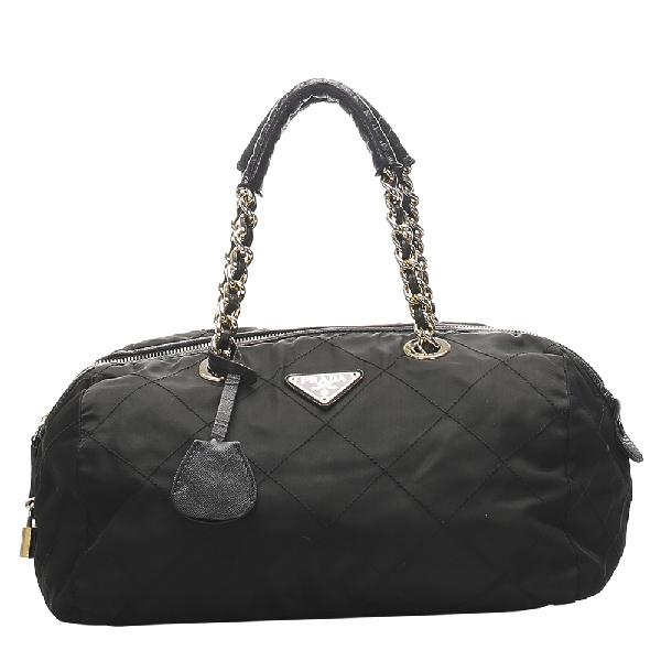 Prada Black Nylon Quilted Tessuto Satchel Bag