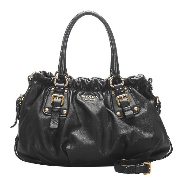 Prada Black Nappa Leather Gaufre Satchel Bag