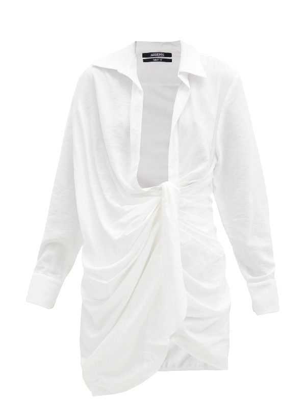 Jacquemus Bahia Gathered Cotton-poplin Mini Shirt Dress In White