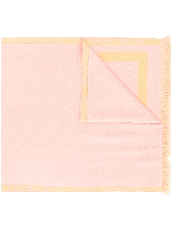 Chanel Frayed Scarf In Pink