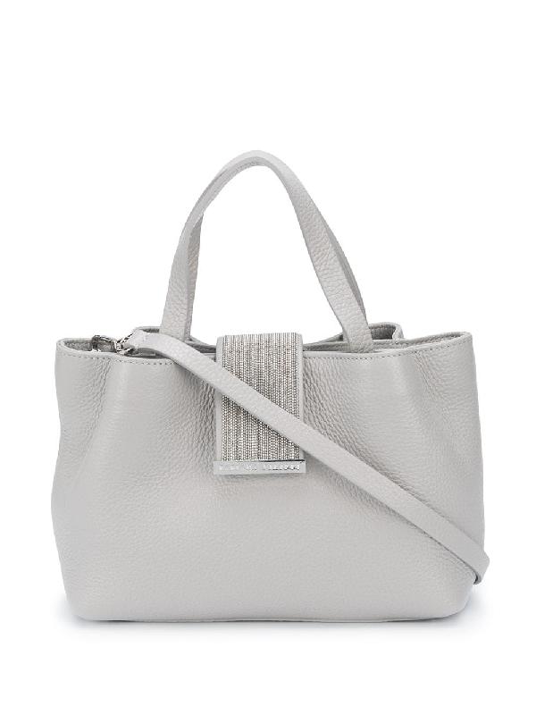 Fabiana Filippi Bead-strap Tote Bag In Grey