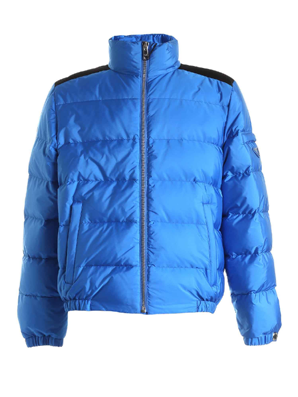 Prada Down Jacket In Blue And Black Featuring Logo