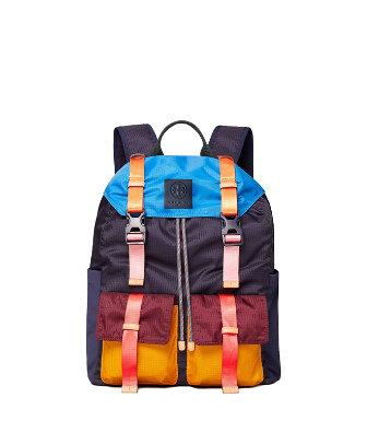 Tory Sport Ripstop Nylon Color-block Backpack In Navy Blue