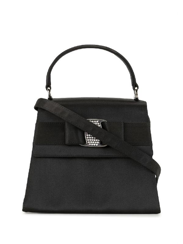 Salvatore Ferragamo Vara Bow Tote Bag In Black
