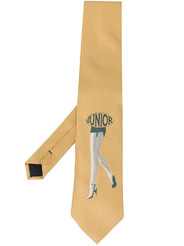 """Jean Paul Gaultier 1980s Krawatte Mit """"junior""""-print In Neutrals"""