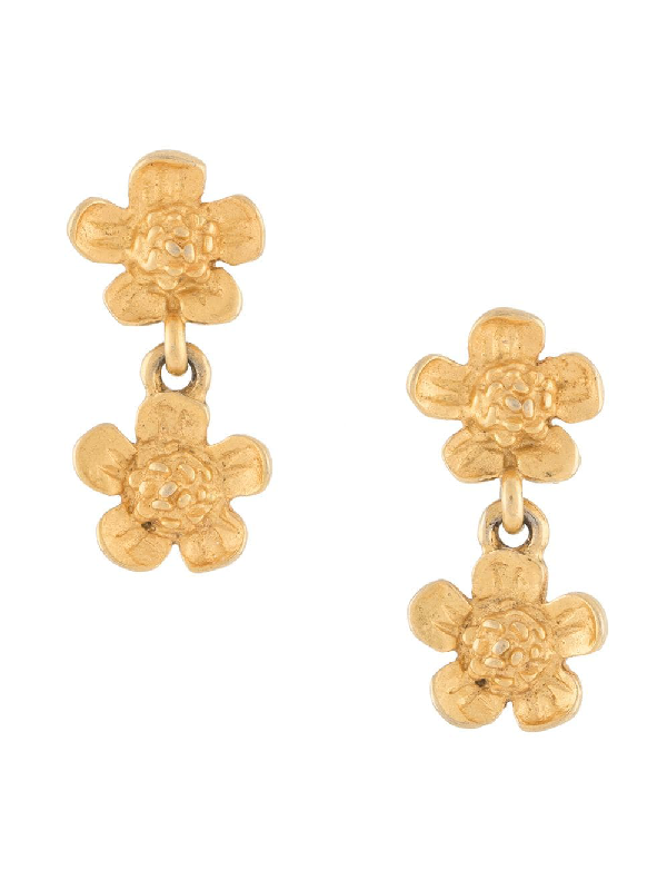 Givenchy 1990s Double Flower Earrings In Gold