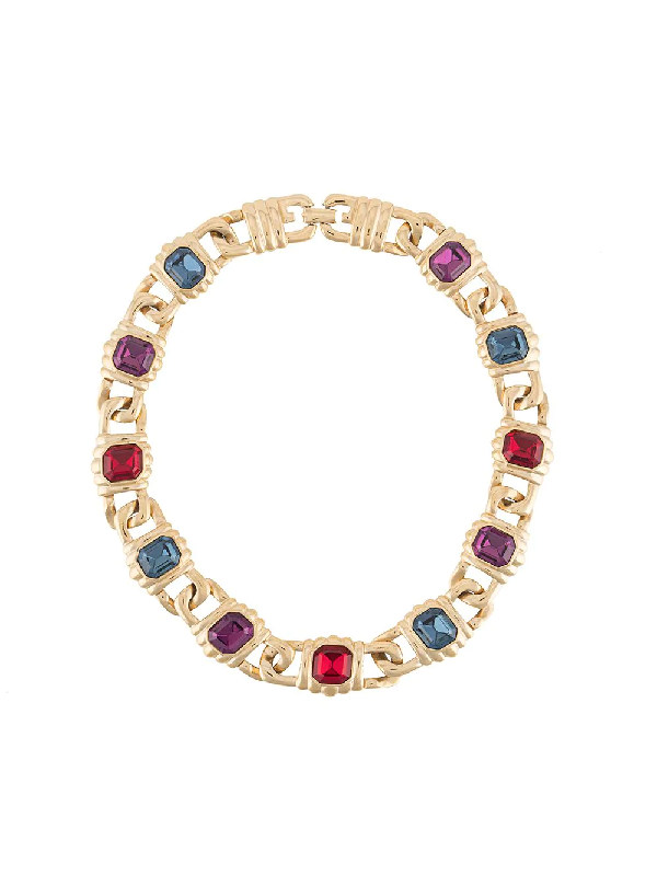 Givenchy 1980s Stone Embellished Necklace In Gold