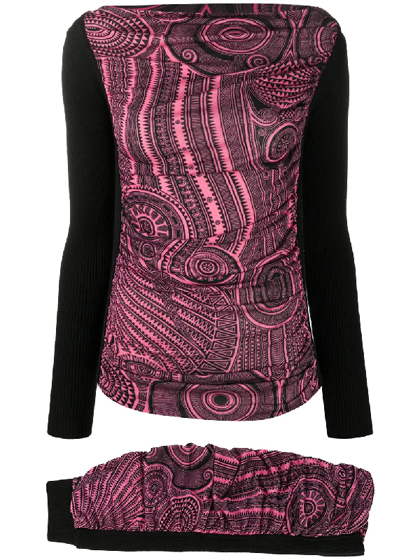 Jean Paul Gaultier 2000s Patterned Jumper And Skirt Set In Black