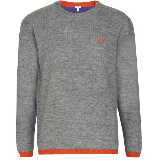 Loewe Logo-embroidered Mélange Knitted Sweater In 1146 Grey