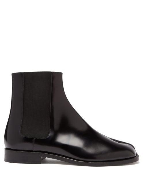 Maison Margiela Tabi Split-toe Leather Chelsea Boots In Black