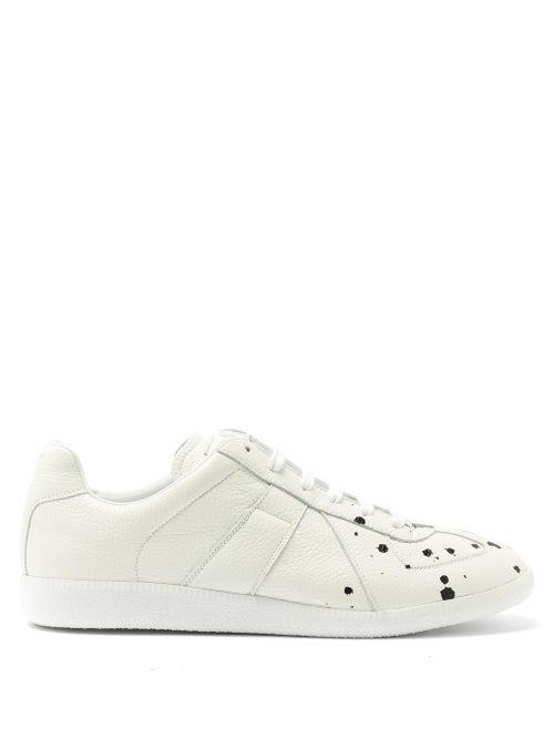 Maison Margiela Replica Paint-splattered Full-grain Leather Sneakers In White