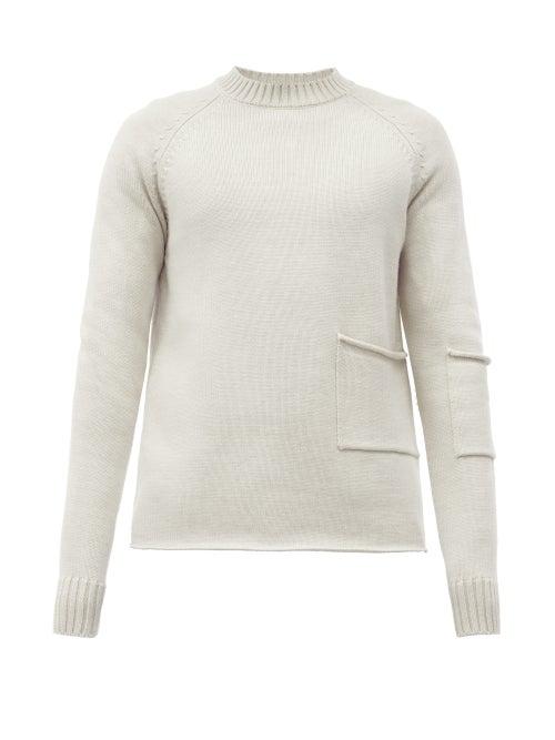 Jacquemus Patch-pocket Merino-wool Sweater In Beige