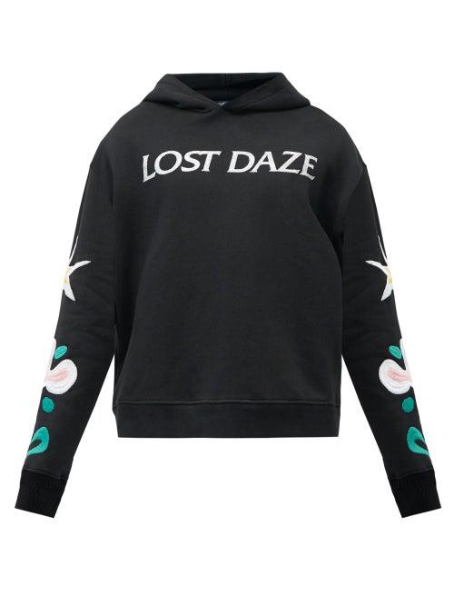 Lost Daze Aloha Logo-printed Hooded Sweatshirt In Black