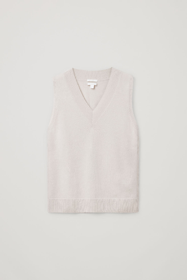 Cos V-neck Cashmere Vest In Beige