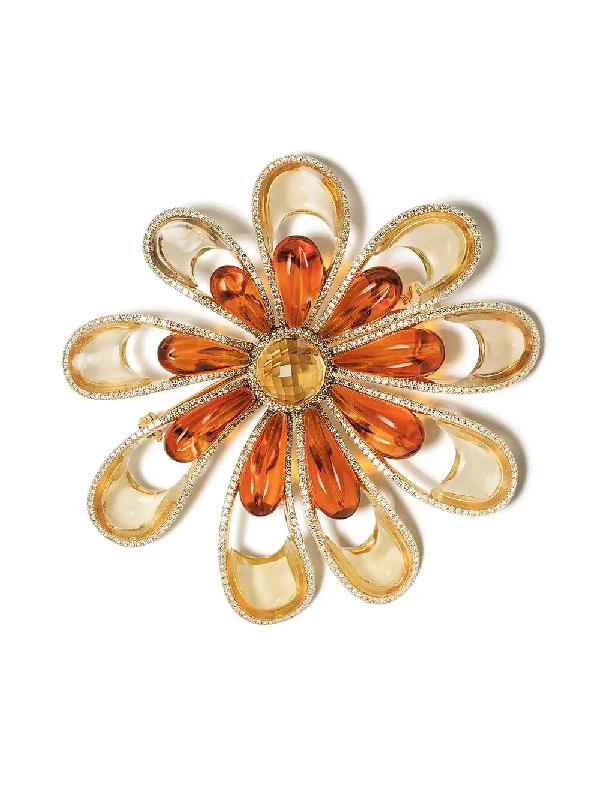 David Morris 18kt White Gold Diamond Flower Brooch