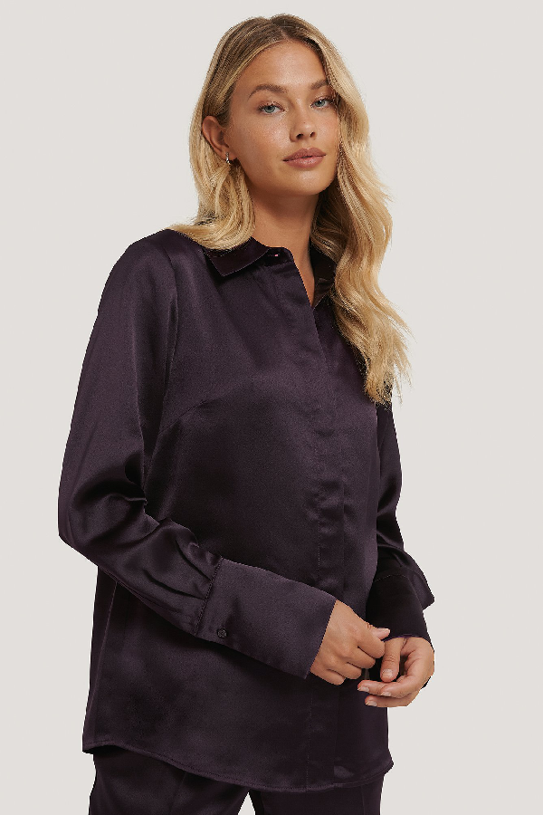 Na-kd Reborn Wide Cuff Satin Blouse Purple In Plum