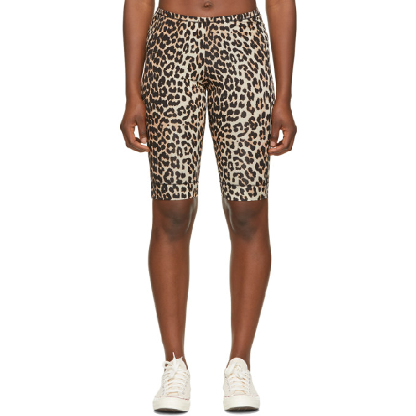 Ganni Leopard-print Jersey Cycling Shorts In Brown