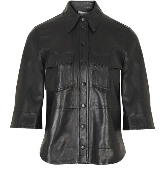 Ganni Short Sleeve Lambskin Shirt In Black