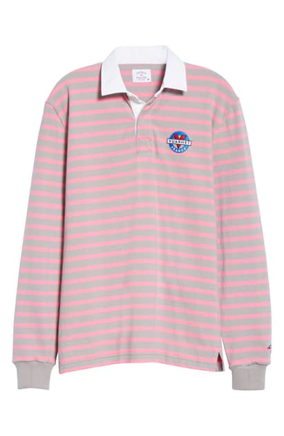Noah X Vuarnet Logo Stripe Rugby Shirt In Grey/ Pink ...