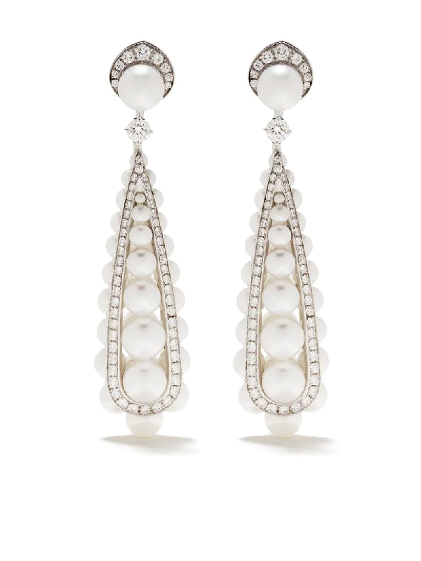 David Morris 18kt White Gold Pearl Rose Deco Diamond And Pearl Drop Earrings