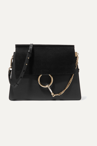 ChloÉ Chloe Medium Faye Suede & Calfskin Shoulder Bag In Black