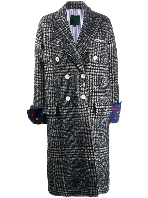 Jejia Plaid Double-breasted Coat In Blue