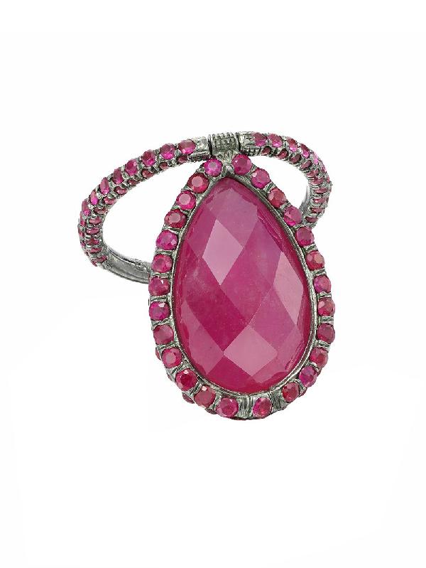Nina Runsdorf Ruby Pear-shape Flip Ring In Silver